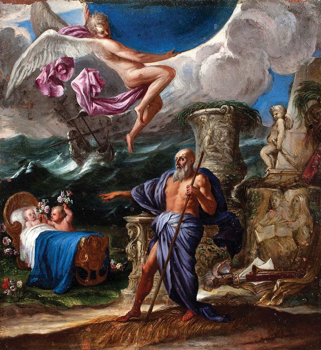 Atribuido a Giulio Carpioni. Alegoría del nacimiento de un príncipe o princesa. Salida: 16.000 euros. No vendido