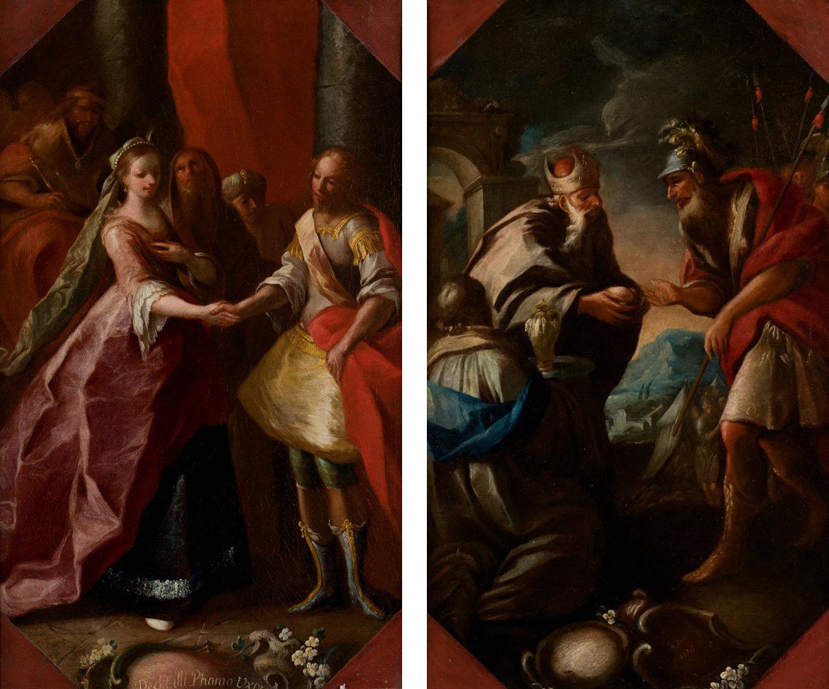 José Camarón y Boronat. El faraón dando a Asenat por esposa a José, y Abraham y Melquisedec, hacia 1756-60. Salida: 11.000 euros cada uno. No vendidos
