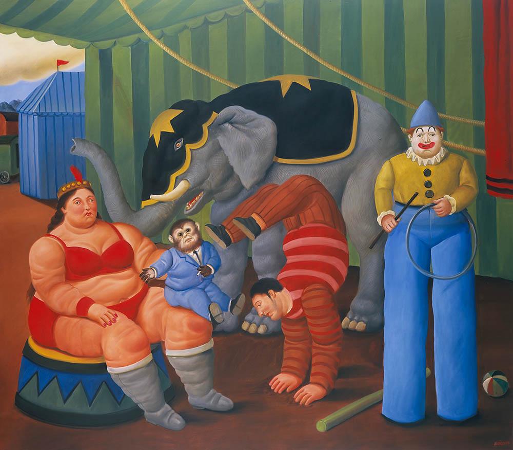 fernando-botero_gente-del-circo-con-elefante-2007_oleo-sobre-lienzo