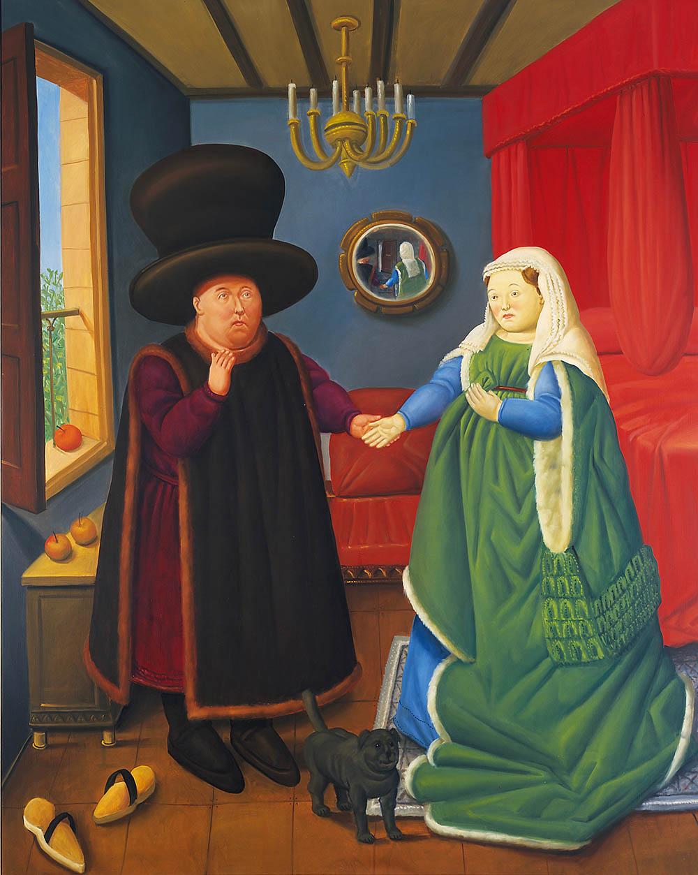 fernando-botero_the-arnolfini-segun-van-eyck-2006_oleo-sobre-lienzo-lien