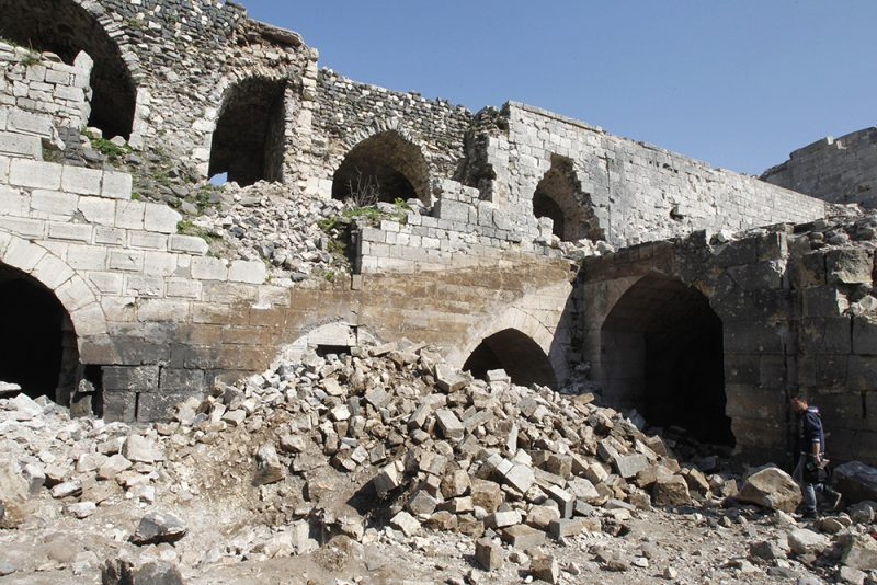 A view shows the damage inside the Crac des Chevaliers fortress in Homs countryside