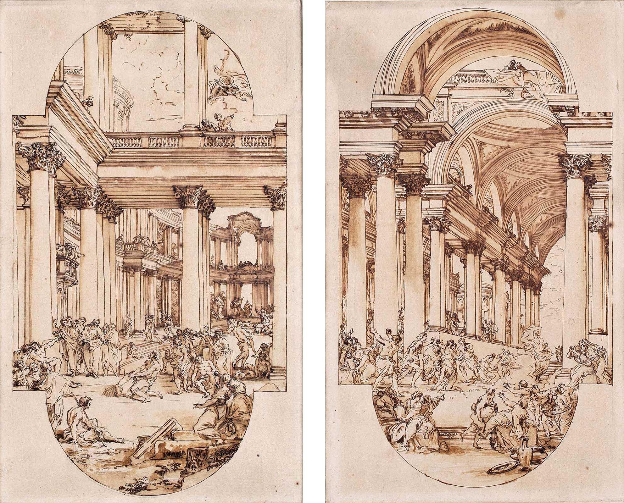 Giovanni Paolo Panini. La piscina Probática y Los judíos intentan apedrear a Jesús, 1736. Salida: 15.000 euros cada uno. Remates: 22.500 y 27.500 euros, respectivamente