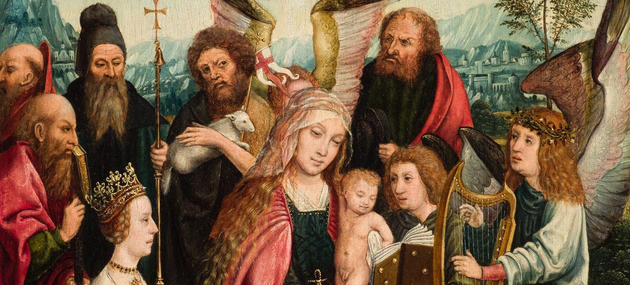 Maestro de Fráncfort (tapado bajo Escuela flamenca del siglo XVI). Sagrada Familia con donante, santos y ángeles, detalle