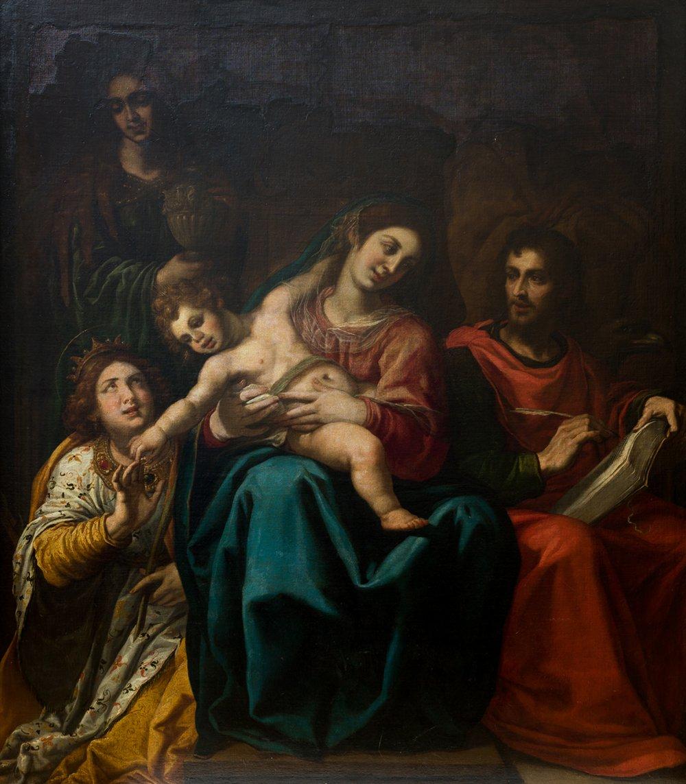 Vicente Carducho. Sagrada Familia con santa Catalina, santa María Magdalena y san Juan Evangelista. Salida: 90.000 euros No vendido