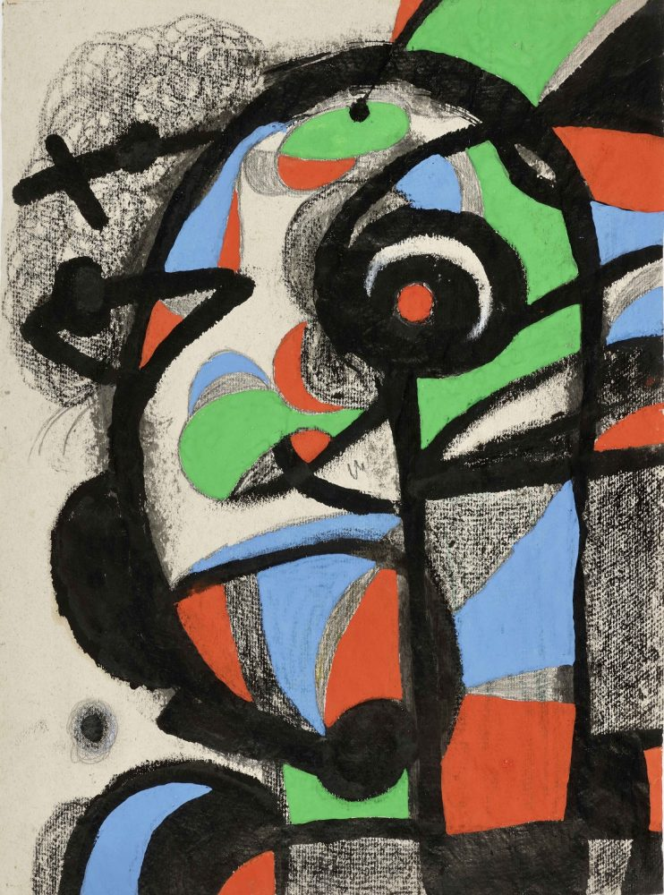 mir.-composition-1981.-gouache-brush-and-ink-pastel-and-pencil-on-paper.-56×40-cm